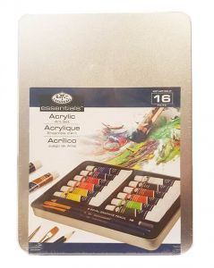 Colori acrilici con pennelli Conf. metallo 16 pz.Pastel Art set Royal & Langnickel