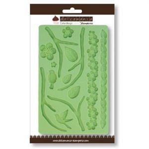 Calco in silicone - decoro fiori e foglie - art. QDC033 - CakeDesigne Stamperia Dolcemania
