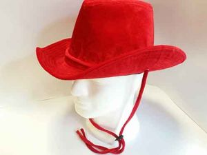 Cappello Cowboy In Velluto Rosso