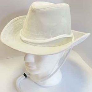 Cappello Cowboy In Velluto Bianco