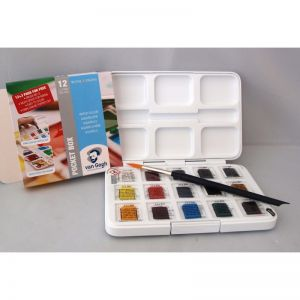 Acquerelli VAN GOGH - Water Colour Pocket Box - 12 Godets + 3 Gratis + Pennello e Tavolozza - art. 20808632 - Talens