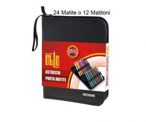 Astuccio porta matite OBLO - fino a 24 pastelli o 12 matitoni - Tessuto Nero Antistrappo - art. DJSB-24 - KOH.I.NOOR