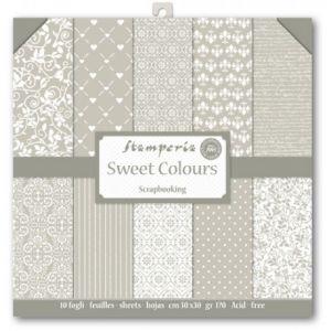 Blocco carta da scrapbooking 10 fogli coordinati Sweet Colours Stamperia SBBL09