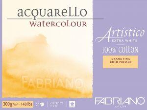 Blocco da Disegno - Fabriano Artistico - Acquarello 100% cotone Extra White - 20 fogli 23x30,5cm - grana fina - 300 g