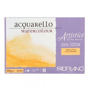Blocco da Disegno - Fabriano Artistico - Acquarello 100% cotone Extra White - 20 fogli 12,5x18cm - grana fina - 300 g