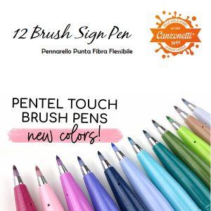 Brush Sign Pen - Pennarello punta a Pennello - Ideale per Lettering - 12 Colori - art. 0022257 - Pentel