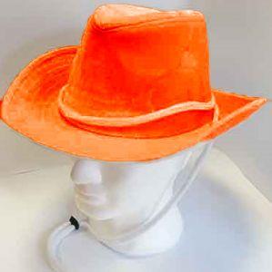 Cappello Cowboy In Velluto Arancione