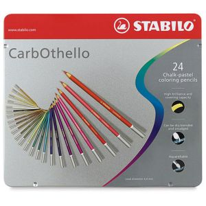 Matite-carboncino colorate CarbOthello Stabilo - Scatola in metallo set 24 colori
