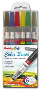 Color Brush - Penne con Punta a Pennello - Ricaricabili - set 6 colori brillanti - Scuri - art. 0100885 GLF - Pentel