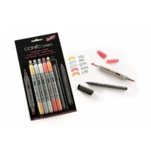 Pennarelli COPIC Ciao - 5+1 Set  Colori Pastello + 1 Multiliner Nero 0,3 mm art. 22075 555