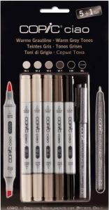 Pennarelli COPIC Ciao - 5+1 SET Colori Toni di Grigio Caldo + 1 Multiliner Nero 0,3 mm art. 22075 565