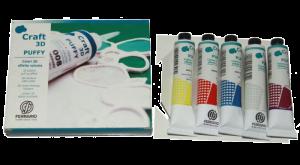 Colori a Rilievo - Craft 3D PUFFY - effetto Volume - set 5 Colori + Beccucci - art. BPU001C0 - Ferrario.