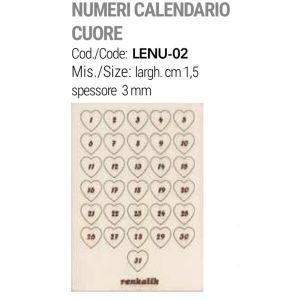 Numeri in Legno da 1-31 - Decorazione in Legno per Calendario dell'Avvento - Cuori - art. LENU-02 - Renkalik