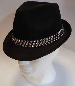 Cappello classico Nero con fascia di Strass