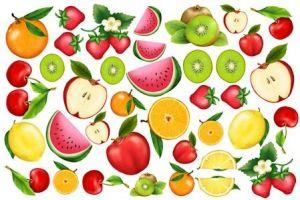FOMMY DECO' - Frutta -  Fogli di gomma Eva/Crepla - Moosgummi - cm.20x30 - art. GDTEM002 -  Renkalik