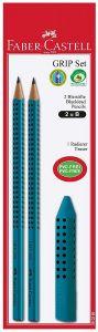 Grip Set Azzurro/petrolio – Kit Disegno con 2 Matite + Gomma – art. 58 02 83 – Faber-Castell