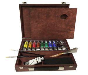 Colori Tempera Fine cassetta in legno color ciliegio 10 tubi 20ml con accessori Maimeri
