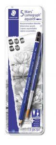 5 Mars Lumograph Aquarell - Watercolour Pencil - 5 Matite acquerellabili + pennello - art. 100A G6 - Staedtler