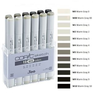 Pennarelli Copic Sketch - 12 WG colors - Set colori W - Grigio Caldo - art. 20 075 154