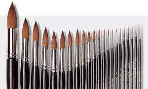 Pennello per acquerello - Serie 35 Maestro Da Vinci - punta Tonda n. 000 (-3) - martora Kolinsky - setola extra lunga - art. 35.000 - Da Vinci