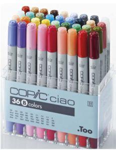 Pennarelli Copic Ciao confezione da 36 colori B luminosi doppia punta