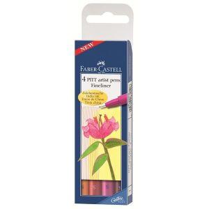 Pitt Artist Pens Fineliner - 4 Penne di Inchiostro di China - Punta S 0,3 mm - Colori Caldi - art. 16 70 05 - Faber-Castell