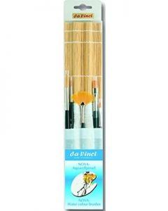 Porta pennelli in Bambù e tela + 5 pennelli per acquerello serie Nova - art. 5307 - ean 4017505981341 - Da Vinci