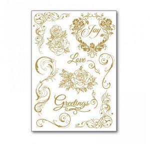 Rub-On Decotransfer - Love and Greeting - Amore e Matrimonio - Oro - trasferibili - art. DFTD14 - Stamperia