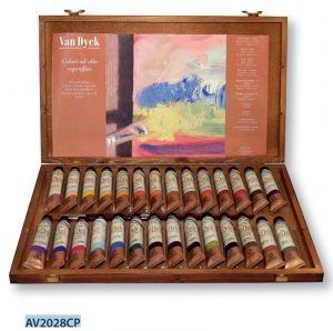 Colori ad olio Fini Van Dyck - 28 tubetti da 20 ml in Cassetta di legno di Faggio - art. AV2028CP  - Ferrario