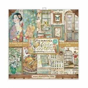 Set Carte Scrapbooking Paper Pack ATELIERS DES ARTS - 10 fogli double faced - 20,3 x 20,3 cm - art. SBBS33 - Stamperia