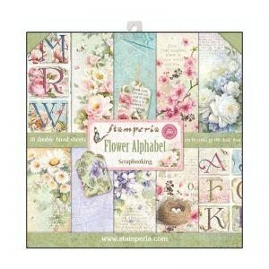 Set Carte Scrapbooking Paper Pack FLOWER ALPHABET - 10 fogli double faced - 30,5 x 30,5 cm - art. SBBL30 - Stamperia