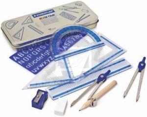 Set per Disegno Tecnico/Geometrico - Mathematical Instruments Noris Club - Astuccio in metallo - 10 pezzi - art. 557 10 - Staedtler