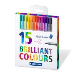 Brillant Colours Triplus Fineliner - Penna a inchiostro punta fine 0,3 mm - colori brillanti - Confezione da 15 penne - art. 334 C15 - Staedtler
