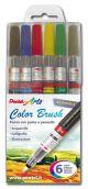 Color Brush - Penne con Punta a Pennello - Ricaricabili - set 6 colori brillanti - Scuri - art. 0100885 GLF - Pentel