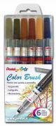Color Brush - Penne con Punta a Pennello - Ricaricabili - set 6 colori brillanti - Scuri - art. 0100886 GLF - Pentel