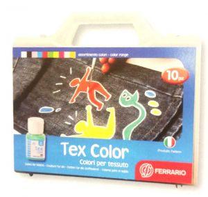 Colori per tessuto Valigetta Tex Color Ferrario 10 barattoli 50 ml