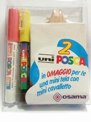 Kit Uniposca per Piccoli Artisti - uniPOSCA Rosso Perlato e Giallo Opaco + mini tela e mini cavalletto - Idea Regalo - art. uniposcaRG