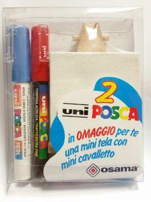 Kit Uniposca per Piccoli Artisti - uniPOSCA Blu Perlato e Rosso Opaco + mini tela e mini cavalletto - Idea Regalo - art. uniposcaBR