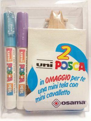 Kit Uniposca per Piccoli Artisti - uniPOSCA Azzurro Perlato e Lilla Perlato + mini tela e mini cavalletto - Idea Regalo - art. uniposcaAL