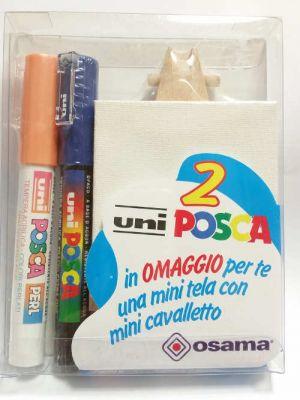 Kit Uniposca per Piccoli Artisti - uniPOSCA Arancio Perlato e Blu + mini tela e mini cavalletto - Idea Regalo - art. uniposcaAB