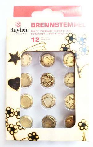 Timbri da pirografo - set 12 pezzi - art. 89 768 000 - Rayher