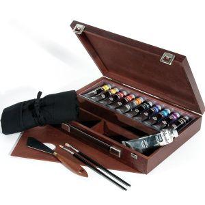 Colori acrilici fini Maimeri Polycolor Cassetta in legno tinta Ciliegio 10 tubi 20 ml