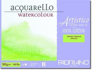 Blocco da Disegno - Fabriano Artistico - Acquarello 100% cotone Extra White - 20 fogli 23x30,5cm - grana grossa - 300 g - art. 00322330