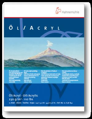 Blocco da Disegno - Hahnemuhle Oil / Acrylic - 10 fogli - 230 g - acid free - 24 x 32 cm - art. 10 628 832
