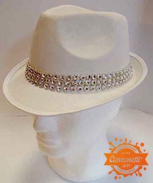 Cappello classico bianco con fascia di Strass