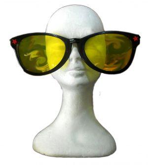 Carnevale -Glasses Party - Occhiali Maxi Grande Nero Lente Gialla - art. maxiglassesnero - ean 8712026005366