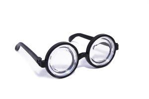 Carnevale - Glasses Party - Occhiali stile Nerd - Lente in plastica a fondo di bottiglia - Art. glassesnerd - ean 8712026003713