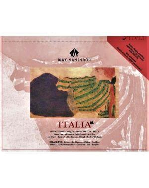 ITALIA - Blocco Carta per Acquerello, China e Acrilico - 100% Cotone - 300 g -  Grana Fina - Doppia Imprimitura - 23x31 cm - Cartiera Magnani