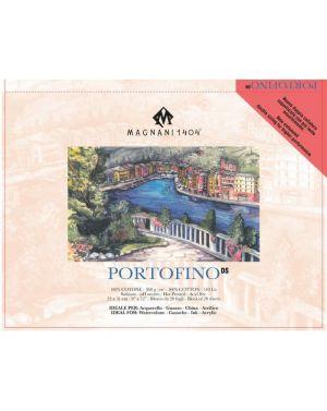 PORTOFINO - Blocco Carta per Acquerello, China e Acrilico - 100% Cotone - 300 g -  Satinato - Doppia Imprimitura - 23X31 cm - Cartiera Magnani