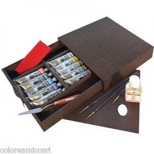 Cassetta Valigetta in Legno scuro Mogano - Olio extrafine Classico - set 10 tubetti 60 ml + Accessori - art. SN0399094 - Maimeri